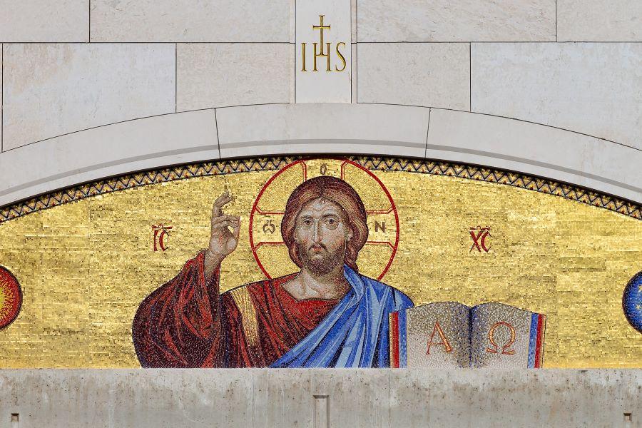 Mozaika Chrystusa Pantokratora w papieskim centrum na Białych Morzach